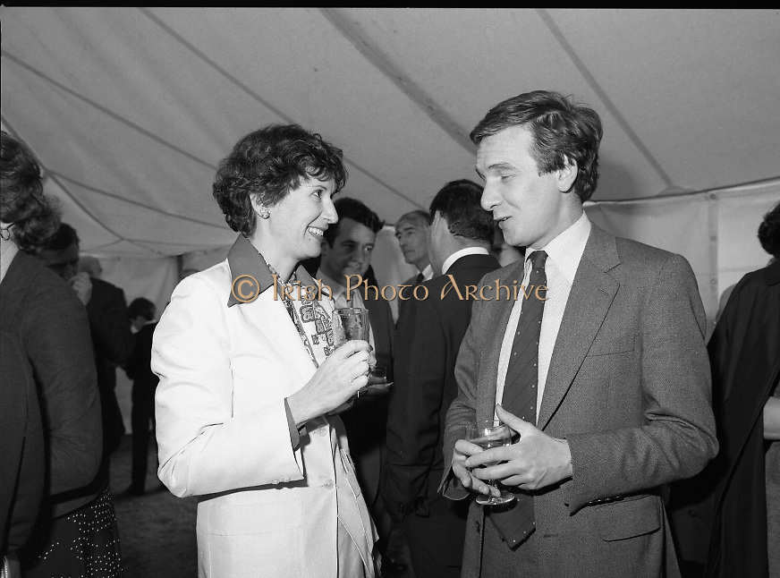 Guests and staff at the US Embassy in Phoenix Park, Dublin, celebrate American Independence Day..1980-07-04.4th July 1980.04/07/1980.07-04-80..Photographed at the US Ambassador's Residence,  Phoenix Park...Elizabeth McNelly Shannon, wife of US Ambassador William V Shannon chats with a guest in the marquee during festivities.