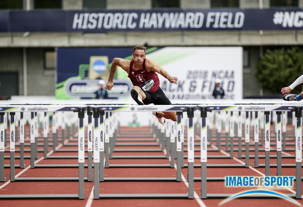 Jun 7, 2018; Eugene, OR, USA; Harrison Williams of Stanford runs in the 110m hurdles  during the NCAA Track and Field championships at Hayward Field.