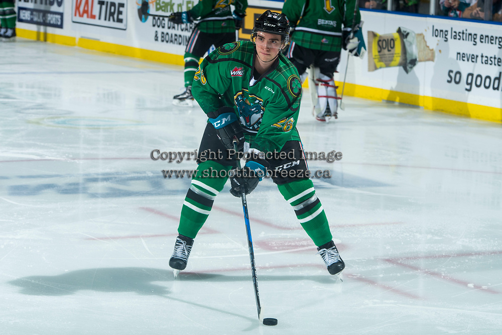 KELOWNA, CANADA - MARCH 18:  Liam Kindree #26 of the Kelowna Rockets warms up against the Vancouver Giants on March 1, 2018 at Prospera Place in Kelowna, British Columbia, Canada.  (Photo by Marissa Baecker/Shoot the Breeze)  *** Local Caption ***