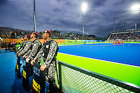 RIO DE JANEIRO  -  Olympic  Final hockey men, Belgium-Argentina (2-4) . militair/ police  along the pitch   COPYRIGHT KOEN SUYK