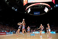 SYDNEY, NSW - JUNE 16: Sarah Klau of the Swifts and Jo Harten of the Giants contest for the ball during the round 8 Super Netball match between the Sydney Swifts and the Giants at Qudos Bank Arena on June 16, 2019 in Sydney, Australia.(Photo by Speed Media/Icon Sportswire)