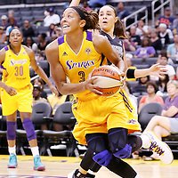 22 June 2014: forward/center Candace Parker (3) of the Los Angeles Sparks drives to the basket past guard Becky Hammon (25) of the San Antonio Stars during the San Antonio Stars 72-69 victory over the Los Angeles Sparks, at the Staples Center, Los Angeles, California, USA.