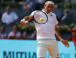 May 9, 2019 - Madrid, Spain - ROGER FEDERER of Switzerland seen in action against G. Monfils of France during day seven of the Mutua Madrid Open at La Caja Magica in Madrid, Spain. Federer defeated Monfils 6-0, 4-6, 7-6 (3) to reach quarterfinals.(Credit Image: © Manu Reino/SOPA Images via ZUMA Wire)