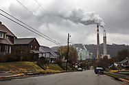 Homes near the Cheswick coal power plant in Pennsylvania's Allegheny County.