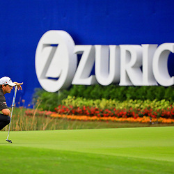 May 2, 2016; Avondale, LA, USA; Brian Stuard prepares to putt on the green at the ninth hole during the continuation of the third round of the 2016 Zurich Classic of New Orleans at TPC Louisiana. The tournament has been shortened to 54 holes due to weather delays throughout the week. Mandatory Credit: Derick E. Hingle-USA TODAY Sports