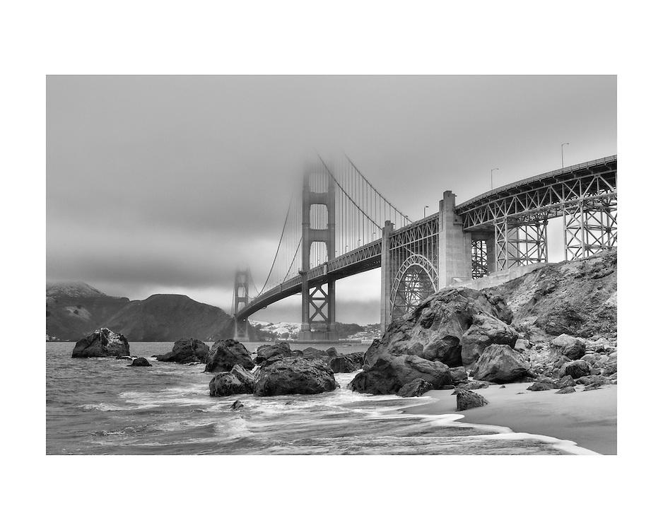 Golden Gate Bridge - Marshall's Beach - Black & White