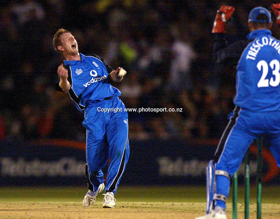 England bowler Paul Collingwood celebrates dismissing Chris Harris LBW during the third ODI cricket match between New Zealand and England, 20 February 2002, McLean Park, Napier, New Zealand. Photo: Andrew Cornaga/PHOTOSPORT<br /><br /><br /><br />044195