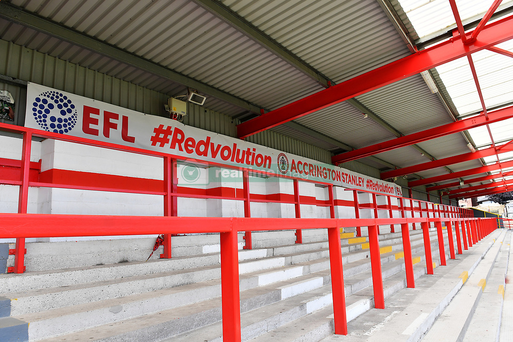 A view of the standing section of the stands at the Wham Stadium, home to Accrington Stanley