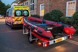 © Licensed to London News Pictures. 23/06/2020. Cookham, UK. A Berkshire Search & Rescue van towing an inflatable boat arrives at the scene. A search and rescue operation was launched Tuesday evening after reports that several people, believed to be refugees from Syria, got into difficulties, it is understood that one person was rescued and transferred to hospital and one person remained unaccounted for. Multiple emergency resources were deployed to the scene, close to Odney Common in Cookham, including lowland search and rescue teams. Photo credit: Peter Manning/LNP