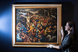 © licensed to London News Pictures. London, UK 07/05/2013. The Mourners by Arthur Boyd being revealed by Bonhams in London as an Australian art collection owned by Neighbours producer Reg Grundy goes to auction. The painting is estimated to be sold for £600,000-785,000 and the collection is estimated to fetch up to £13million in total. Auction takes place on June 26 in Sydney. Photo credit: Tolga Akmen/LNP