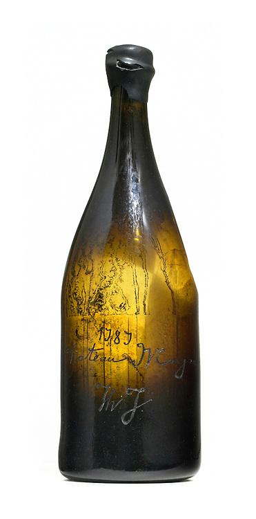 Thomas Jefferson's 1787 wine bottle on white