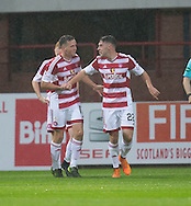 Hamilton&rsquo;s Darren Lyon is congratulated after scoring the opener - Dundee v Hamilton Academical in the Ladbrokes Scottish Premiership at Dens Park<br /> <br />  - &copy; David Young - www.davidyoungphoto.co.uk - email: davidyoungphoto@gmail.com