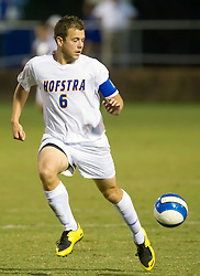 Hofstra defender Corey Gudmundson (6) in action against UVA.  The Virginia Cavaliers faced the Hofstra Pride  in NCAA men's soccer at Klockner Stadium on the Grounds of the University of Virginia in Charlottesville, VA on September 7, 2008