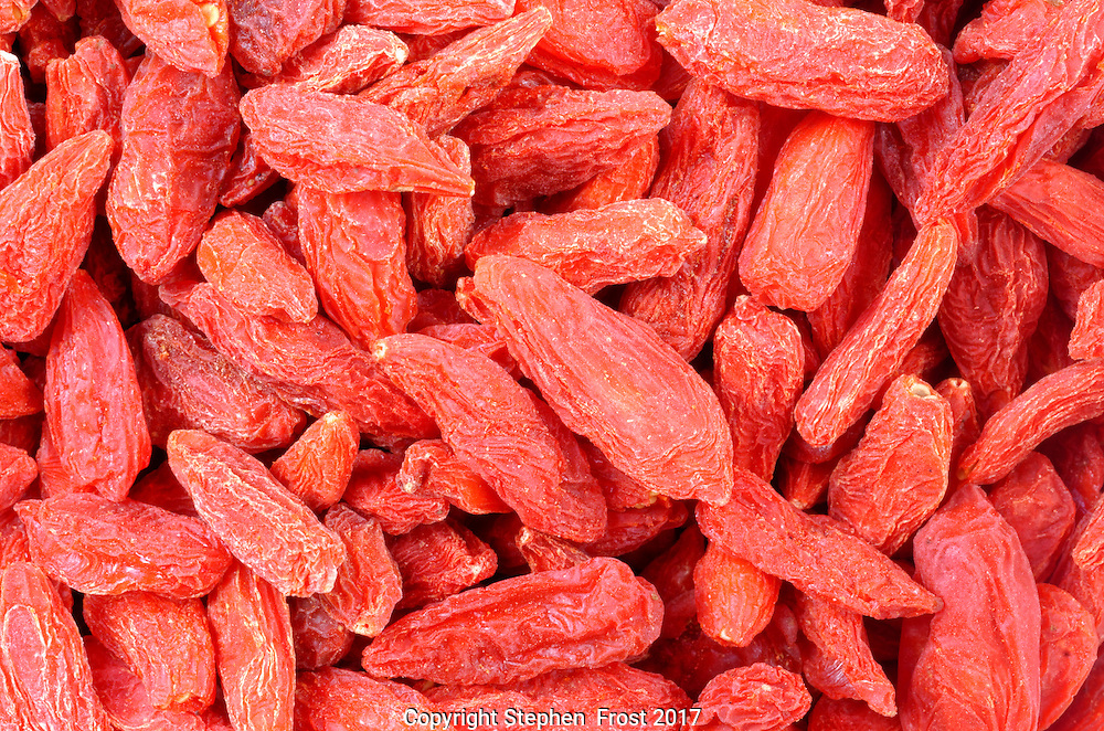 A close-up of dried goji berries.<br />
