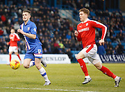 Gillingham forward Rory Donnelly gets a chance to get in on goal during the Sky Bet League 1 match between Gillingham and Barnsley at the MEMS Priestfield Stadium, Gillingham, England on 13 February 2016. Photo by Andy Walter.