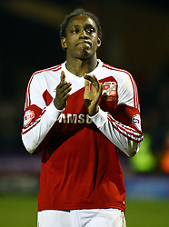 Swindon Town's Nile Ranger who scored the opening goal claps the fans at full-time - Photo mandatory by-line: Joe Dent/JMP - Tel: Mobile: 07966 386802 11/01/2014 - SPORT - FOOTBALL - County Ground - Swindon - Swindon Town v Peterborough United - Sky Bet League One