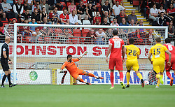 Aaron Chapman of Bristol Rovers can't save the penalty - Mandatory byline: Neil Brookman/JMP - 07966386802 - 29/08/2015 - FOOTBALL - Matchroom Stadium -Leyton,England - Leyton Orient v Bristol Rovers - Sky Bet League Two
