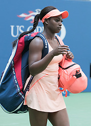 September 5, 2017 - Flushing Meadows, New York, U.S - Sloan Stephens plays on Day Nine of the 2017 US Open with Anastasia Sevastova at the USTA Billie Jean King National Tennis Center on Tuesday September 5, 2017 in the Flushing neighborhood of the Queens borough of New York City. Stephens defeats Sevastova. 6-3, 3-6, 7-6  (Credit Image: © Prensa Internacional via ZUMA Wire)