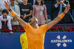 April 27, 2018 - Barcelona, Catalonia, Spain - RAFAEL NADAL (ESP) celebrates his victory against Martin Klizan (SVK) in their quarter final of the 'Barcelona Open Banc Sabadell' 2018. Nadal won 6:0, 7:5 (Credit Image: © Matthias Oesterle via ZUMA Wire)