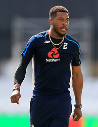 England's Chris Jordan during the nets session at Trent Bridge, Nottingham.