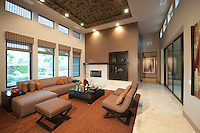 Spacious living room with double height ceiling