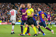 Barcelona defender Arturo Vidal (22) appeals the referees decision of a freekick during the Champions League semi-final leg 1 of 2 match between Barcelona and Liverpool at Camp Nou, Barcelona, Spain on 1 May 2019.