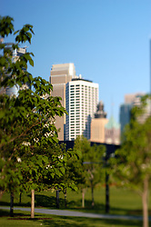This is a photograph made from Gold Medal Park in downtown Minneapolis of a small portion of the Minneapolis skyscrapers