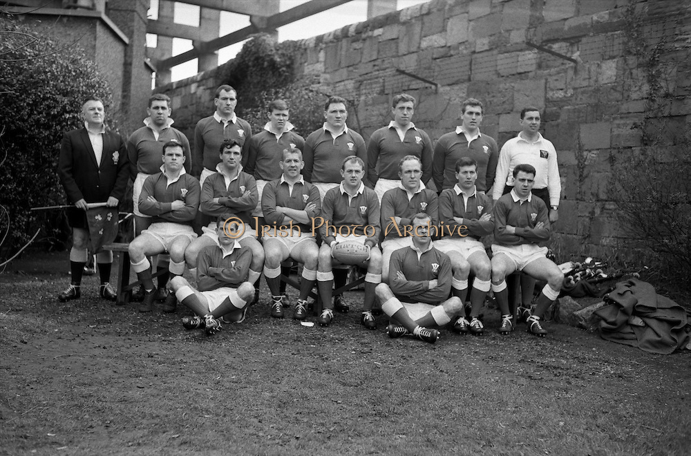 Irish Rugby Football Union, Ireland v Wales, Five Nations, Landsdowne Road, Dublin, Ireland, Saturday 7th March, 1964,.7.3.1964, 7.3.1964,..Referee- A C Luff, Rugby Football Union, ..Score- Ireland 6 - 15 Wales, ..Welsh Team, ..G T R Hodgson, Wearing number 15 Welsh jersey, Full Back, Neath Rugby Football Club, Neath, Wales,..P Rees, Wearing number 11 Welsh jersey, Left Wing, Newport Rugby Football Club, Newport, Wales, ..K Bradshaw, Wearing number 12 Welsh jersey, Left Centre, Bridgend Rugby Football Club, Bridgend, South Wales,..J Dawes, Wearing number 13 Welsh jersey, Right Centre, London Welsh Rugby Football Club, Surrey, England, ..S J Watkins, Wearing number 14 Welsh jersey, Right Wing, Newport Rugby Football Club, Newport, Wales, ..D Watkins, Wearing number 10 Welsh jersey, Stand Off, Newport Rugby Football Club, Newport, Wales, ..D C T Rowlands, Wearing number 9 Welsh jersey, Captain of the Welsh team, Scrum Half, Pontypool Rugby Football Club, Pontypool, Wales,..D Williams, Wearing number 1 Welsh jersey, Forward, Ebbw Vale Rugby Football Club, Gwent, South Wales,..N R Gale, Wearing number 2 Welsh jersey, Forward, Llanelly Rugby Football Club, Llanelly, Wales,..L J Cunningham, Wearing number 3 Welsh jersey, Forward, Aberavon Rugby Football Club, Port Talbot, Wales, ..B E V Price, Wearing number 4 Welsh jersey, Forward, Newport Rugby Football Club, Newport, Wales, ..B E Thomas, Wearing number 5 Welsh jersey, Forward, Neath Rugby Football Club, Neath, Wales,..G J Prothero, Wearing number 6 Welsh jersey, Forward, Bridgend Rugby Football Club, Bridgend, South Wales,..A Pask, Wearing number 8 Welsh jersey, Forward, Abertillery Rugby Football Club, Gwent, South Wales, ..D J Hayward, Wearing number 7 Welsh jersey, Forward, Cardiff Rugby Football Club, Cardiff, Wales,.