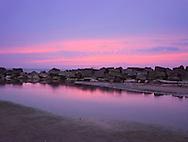 The Ashtabula West Breakwater In The Last Dying Embers Of A Purple Twilight Sunset On Lake Erie At Ashtabula Ohio, USA
