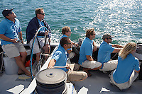 Sailing team sitting on boat