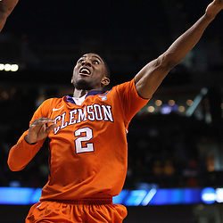 Mar 17, 2011; Tampa, FL, USA; Clemson Tigers guard Demontez Stitt (2) shoots against the West Virginia Mountaineers during the first half of the second round of the 2011 NCAA men's basketball tournament at the St. Pete Times Forum.  Mandatory Credit: Derick E. Hingle