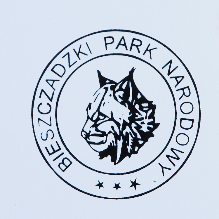 Eurasian lynx (Lynx lynx) portrait on the logo of Bieszczady National Park, Poland.