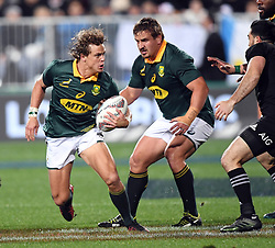 South Africa's Andre Coetzee, left, with support from Run Dreyer against New Zealand in the Investic Championship rugby test match at QBE Stadium, Albany, Auckland New Zealand, Saturday, September 16, 2017. Credit:SNPA / Ross Setford** NO ARCHIVING**