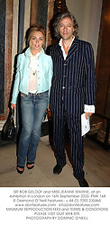 SIR BOB GELDOF and MISS JEANNE MARINE, at an exhibition in London on 16th September 2003.PMK 168