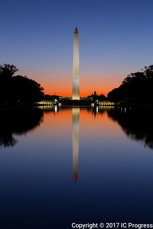 The Washington Monument in Washington D.C. at sunrise.