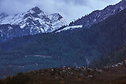 Snowclad mountains behind Bharmour, Chamba, Himachal Pradesh, India
