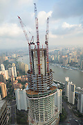View of the Shanghai Tower under construction in Lujiazui Pudong area of Shanghai, China. Upon completion the Shanghai Tower will be the tallest building in China and the second tallest in the world.