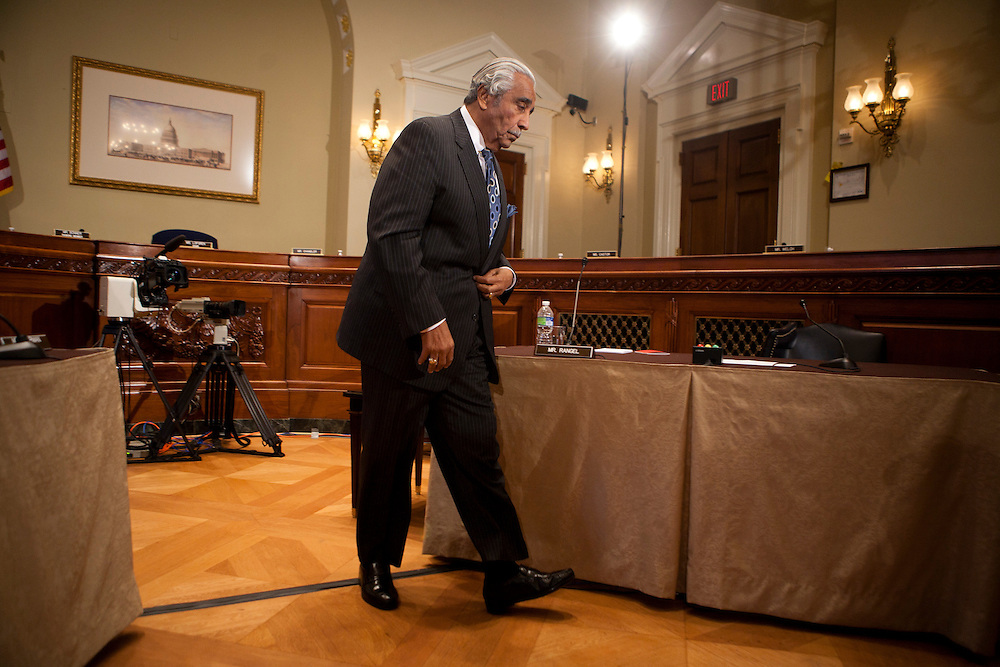 Rep. Charles Rangel (D-NY) leaves after a hearing of the House ethics committee voted 9-1 to censure him for ethics violations on Capitol Hill on Thursday, November 18, 2010 in Washington, DC.