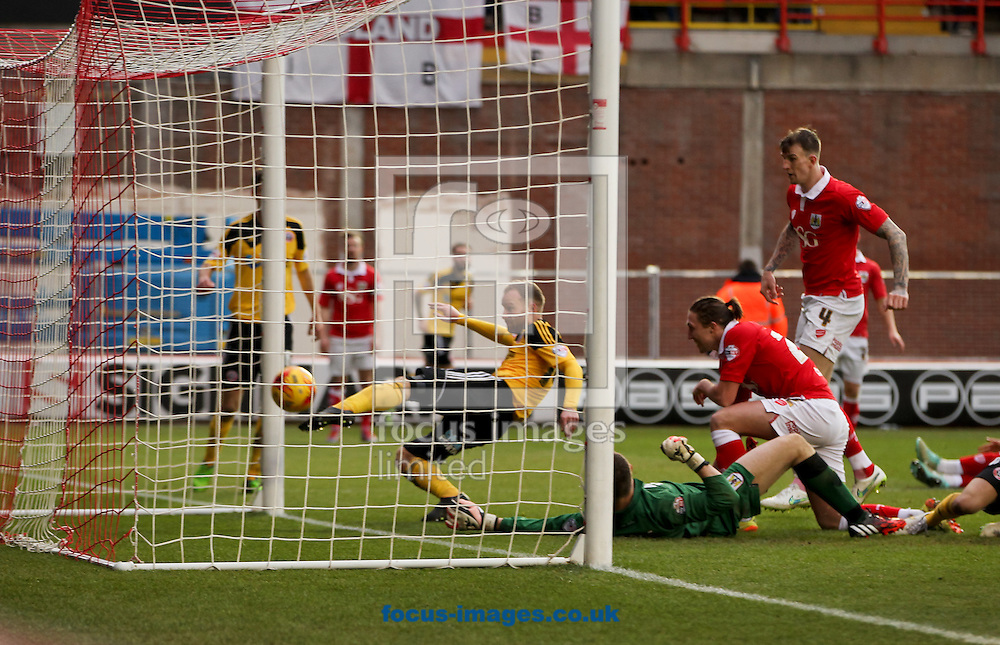 Matt Done (centre) of Sheffield United scores his sides first goal during the Sky Bet League 1 match at Ashton Gate, Bristol<br /> Picture by Tom Smith/Focus Images Ltd 07545141164<br /> 14/02/2015