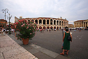 The Roman amphitheatre, the Arena at Verona, in northern Italy. .