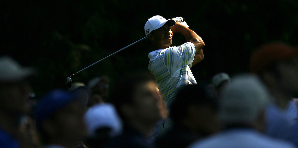 Tiger Woods of the US tees off on the sixteenth hole during the second day of the US Open Golf Championship at Winged Foot Golf Club in Mamaroneck, New York Friday, 16 June 2006.
