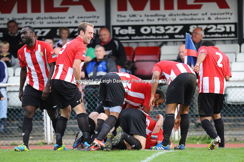 Team mates celebrate after Joey May of AFC Hornchurch scores a goal. AFC Hornchurch v Wealdstone at The Stadium, Bridge Avenue, Upminster, Essex. FA Cup 3rd Qualifying Round. 12th October 2013. © Leigh Dawney Photography 2013.