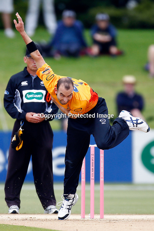 Andy McKay bowls during the HRV Cup match between the Northern Knight v Wellington Firebirds. Men's domestic one day cricket. Blake Park, Mt Maunganui, New Zealand. 4 January 2012. Ella Brockelsby / photosport.co.nz