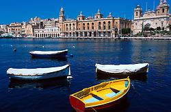 MALTA VALETTA JUL00 - Maltese fishingboats, also called 'Daisas' lie moored in the port of Marsa near Valetta.....jre/Photo by Jiri Rezac....© Jiri Rezac 2000....Tel:   +44 (0) 7050 110 417..Email: info@jirirezac.com..Web:   www.jirirezac.com