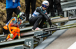 Nika Kriznar of Slovenia and Anna Odine Stroem of Norway during Day 3 of World Cup Ski Jumping Ladies Ljubno 2019, on February 10, 2019 in Ljubno ob Savinji, Slovenia. Photo by Matic Ritonja / Sportida