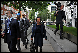 Theresa May and Doreen Lawrence Meeting.<br /> The campaigner and mother of murdered teenager Stephen Lawrence - Doreen Lawrence with son Stuart Lawrence after a private meeting with the Home Secretary Theresa May, following allegations that the Metropolitan Police engaged in a smear campaign against her and her family's supporters, at the Home Office