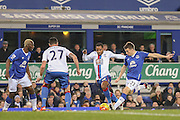 Everton defender Seamus Coleman with a shot during the Barclays Premier League match between Everton and Crystal Palace at Goodison Park, Liverpool, England on 7 December 2015. Photo by Simon Davies.