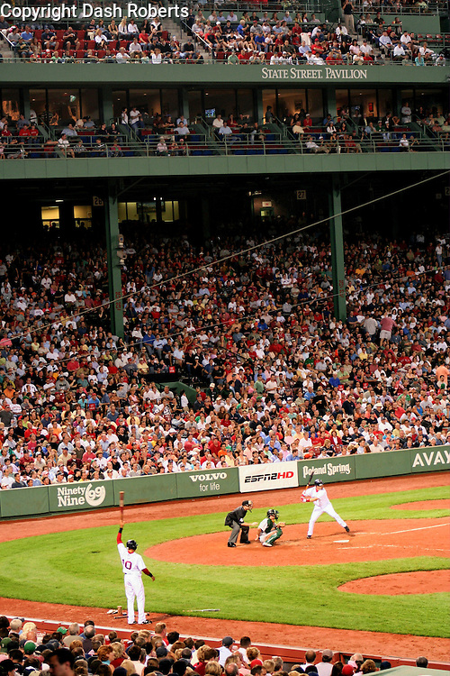 Baseball action at Boston's Fenway Park as the Red Sox battle the Oakland A's, July 13, 2006.