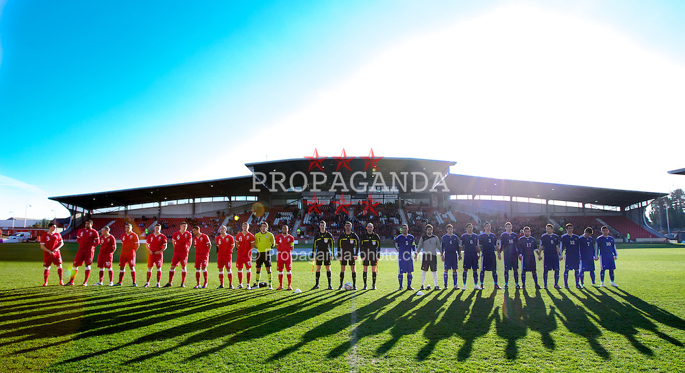 WREXHAM, WALES - Wednesday, February 29, 2012: Wales and Andorra line up before the UEFA Under-21 Championship Qualifying Group 3 match at the Racecourse Ground. (Pic by Vegard Grott/Propaganda)