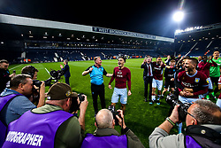 Aston Villa manager Dean Smith and Jack Grealish of Aston Villa celebrate after their side win on penalties against West Bromwich Albion to book their place in the Sky Bet Championship Playoff Final - Mandatory by-line: Robbie Stephenson/JMP - 14/05/2019 - FOOTBALL - The Hawthorns - West Bromwich, England - West Bromwich Albion v Aston Villa - Sky Bet Championship Play-off Semi-Final 2nd Leg